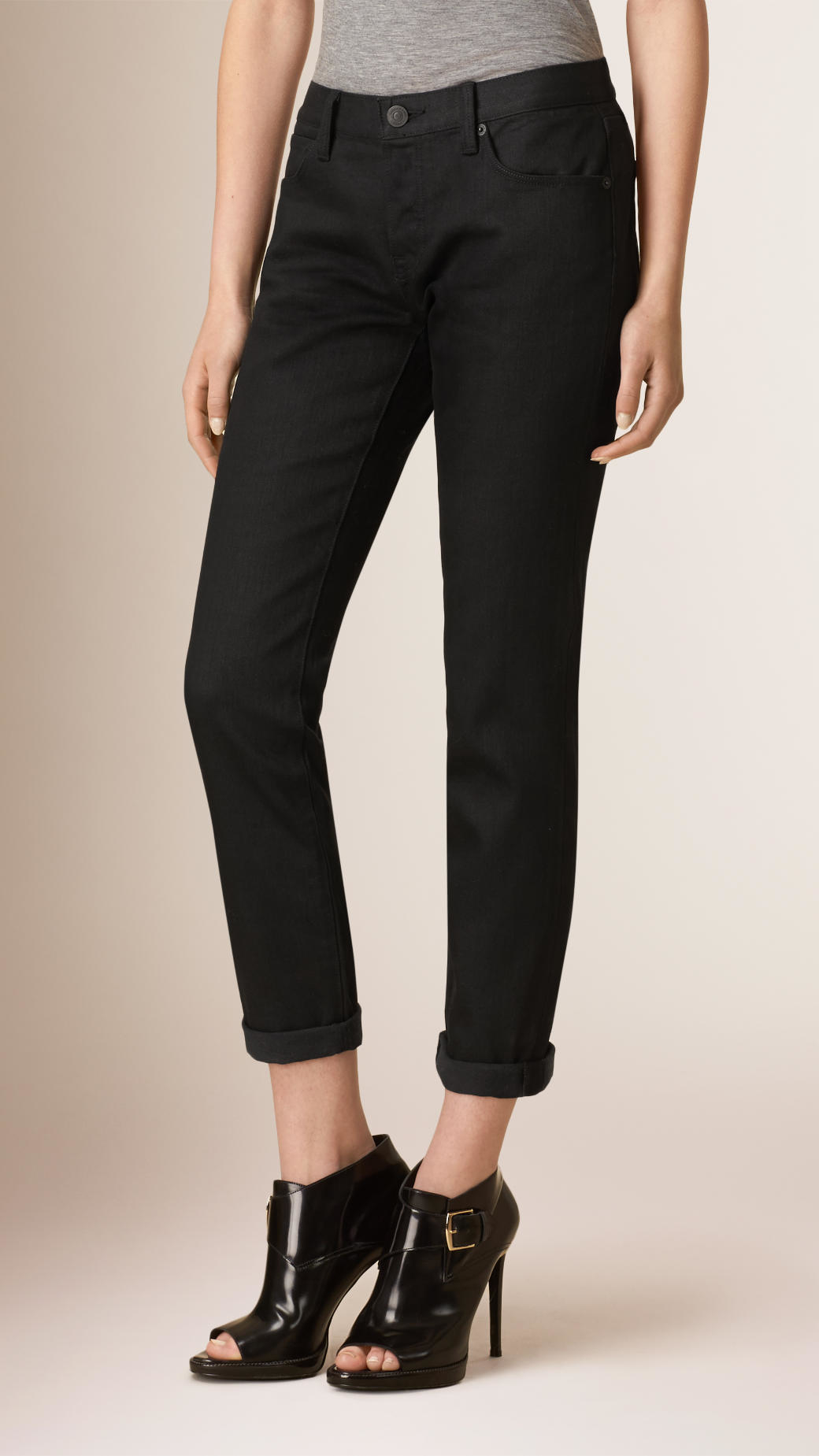 6e83c2cea1001 Lyst - Burberry Slim Fit Cropped Deep Black Jeans in Black