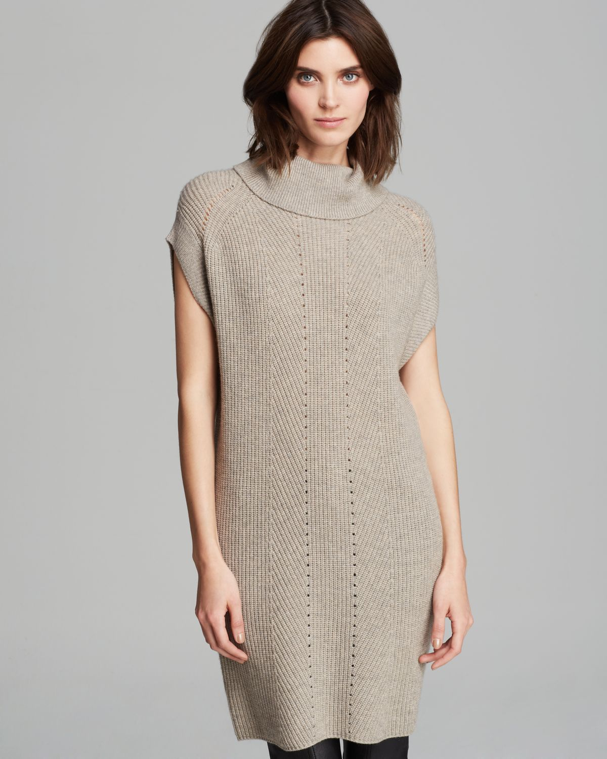 Vince Tunic Sweater Ribbed Wool Cashmere in Natural | Lyst