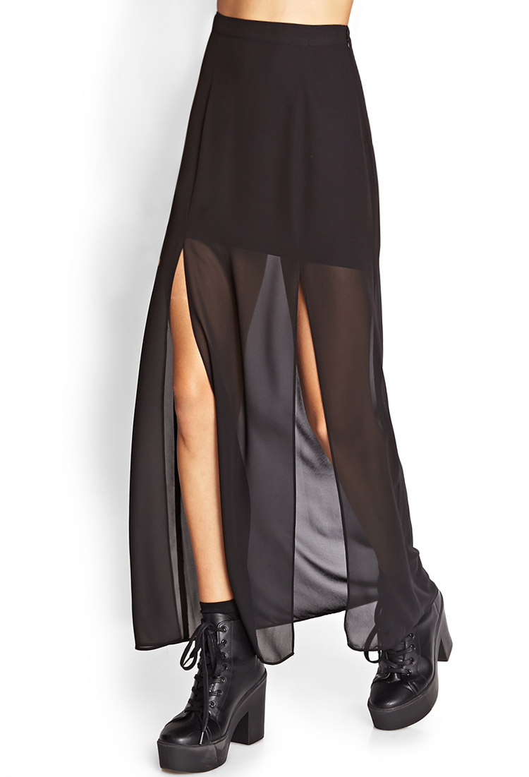 Forever 21 M-Slit Sheer Maxi Skirt in Black | Lyst