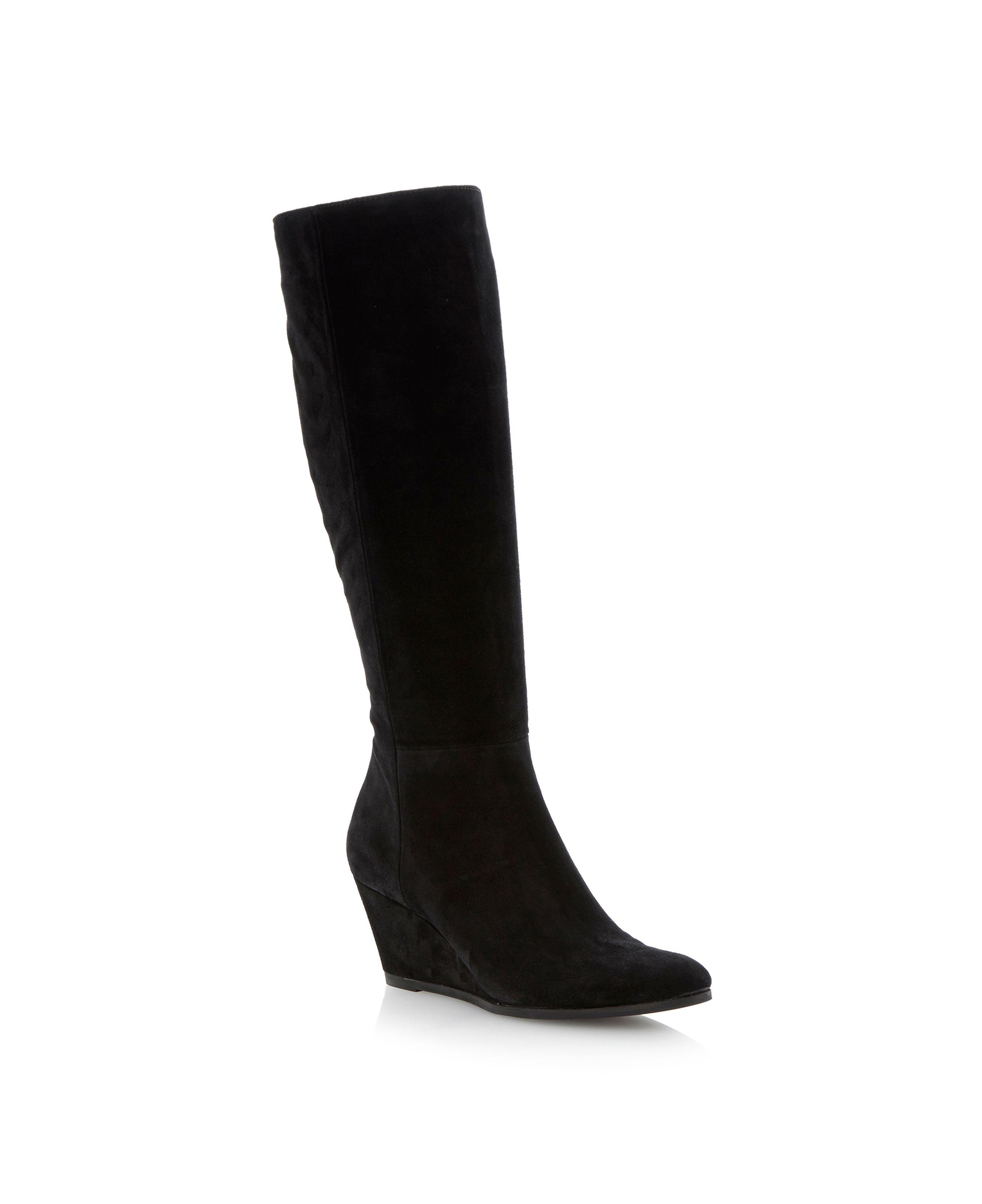 episode sansa high leg wedge boots in black black suede