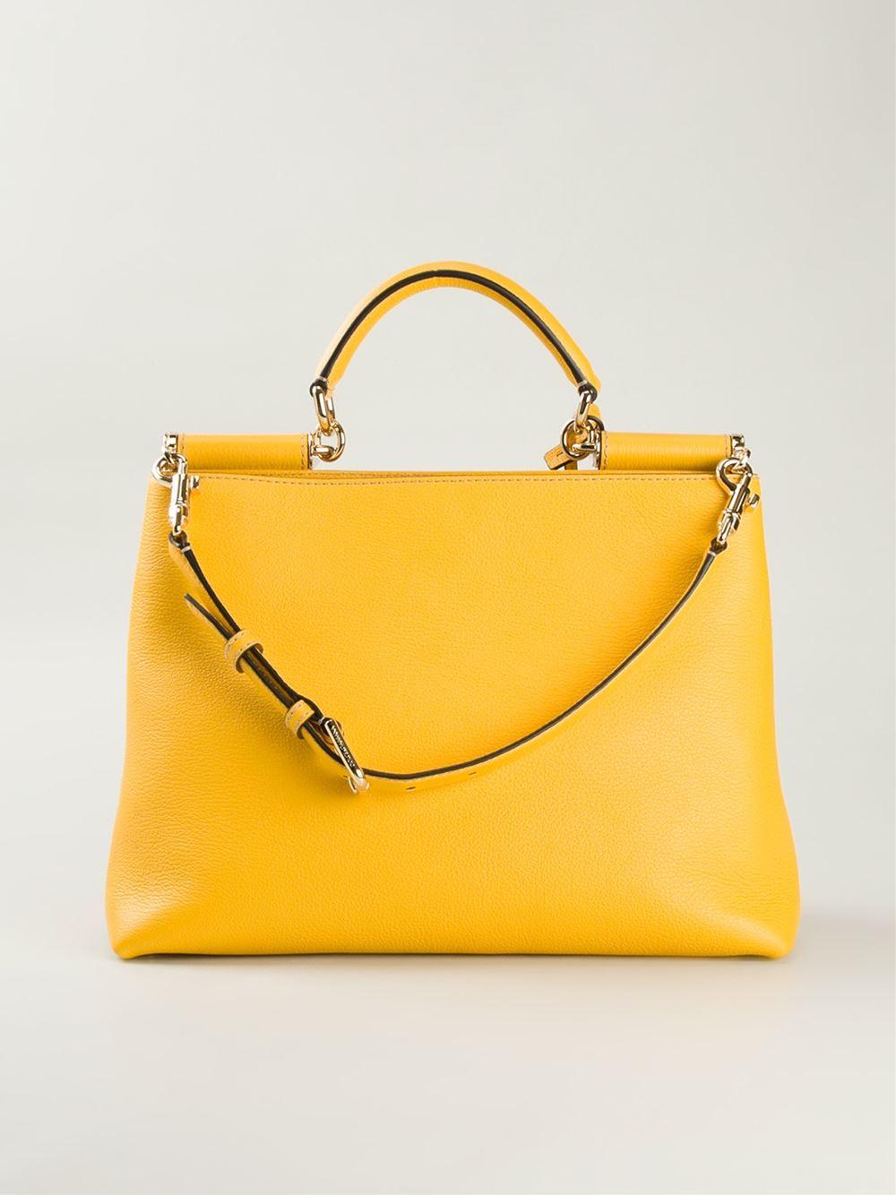 Dolce   Gabbana  Sicily  Shopping Tote in Yellow - Lyst 1da03d581fc5f
