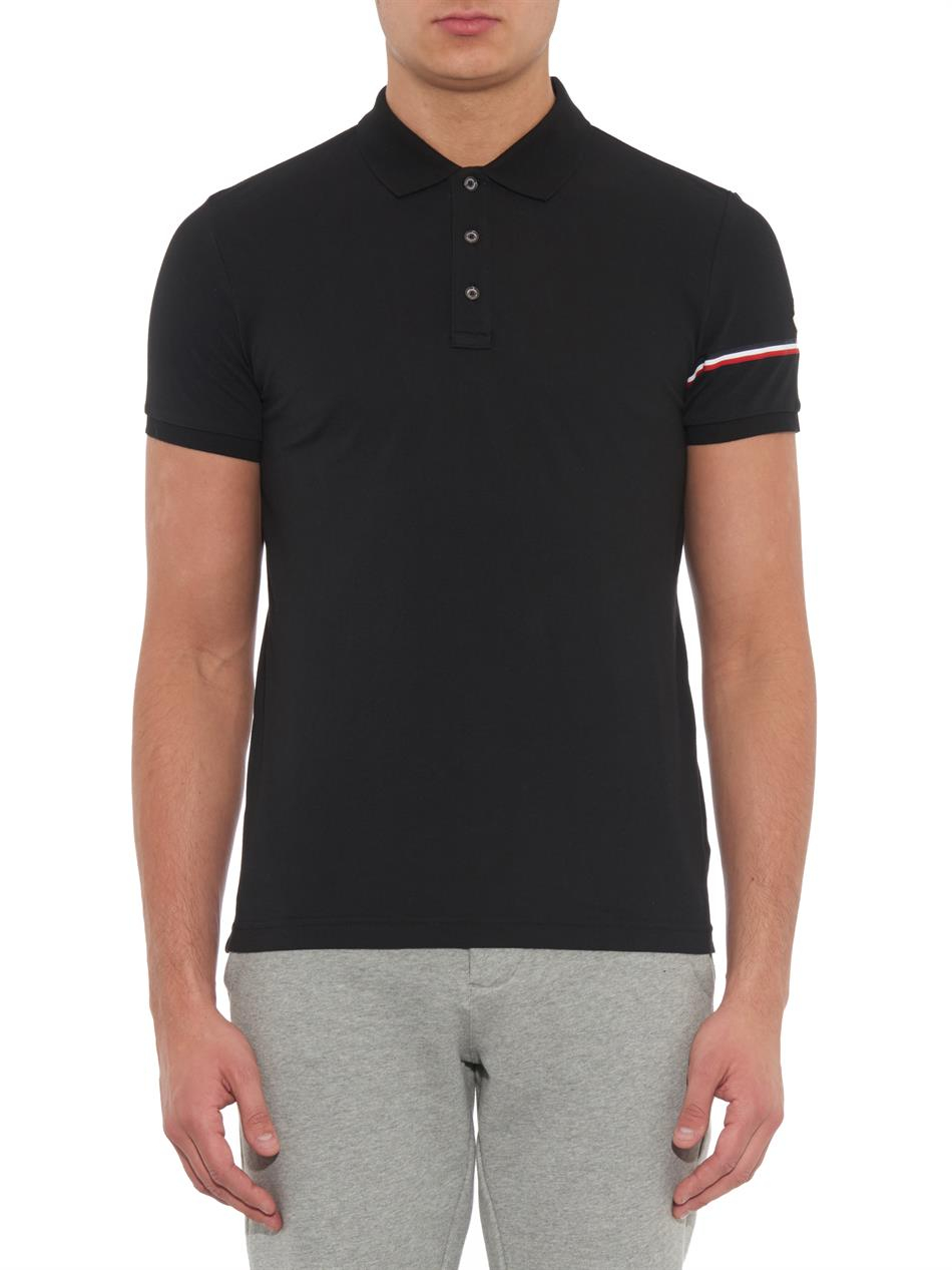 lyst moncler sleeve stripe cotton piqu polo shirt in black for men. Black Bedroom Furniture Sets. Home Design Ideas
