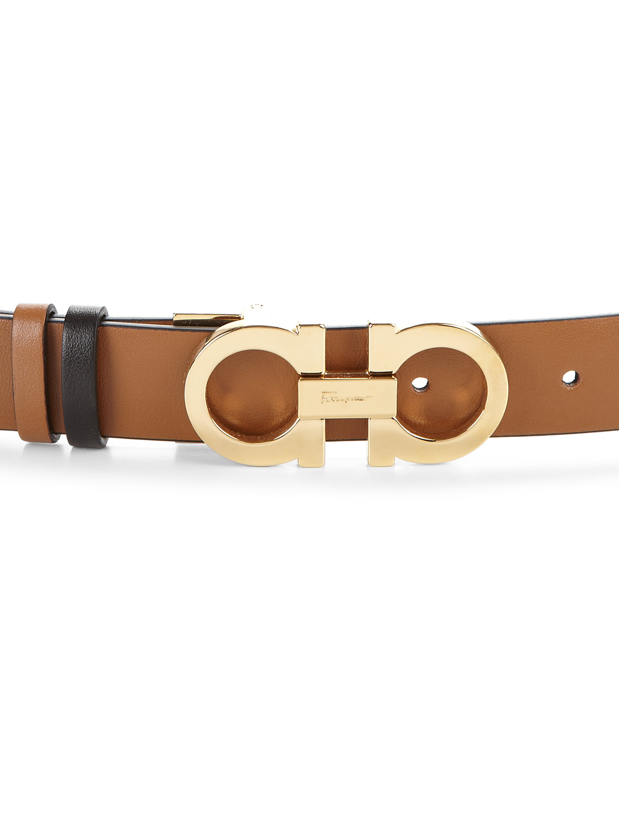 ferragamo gancini small reversible leather belt in brown