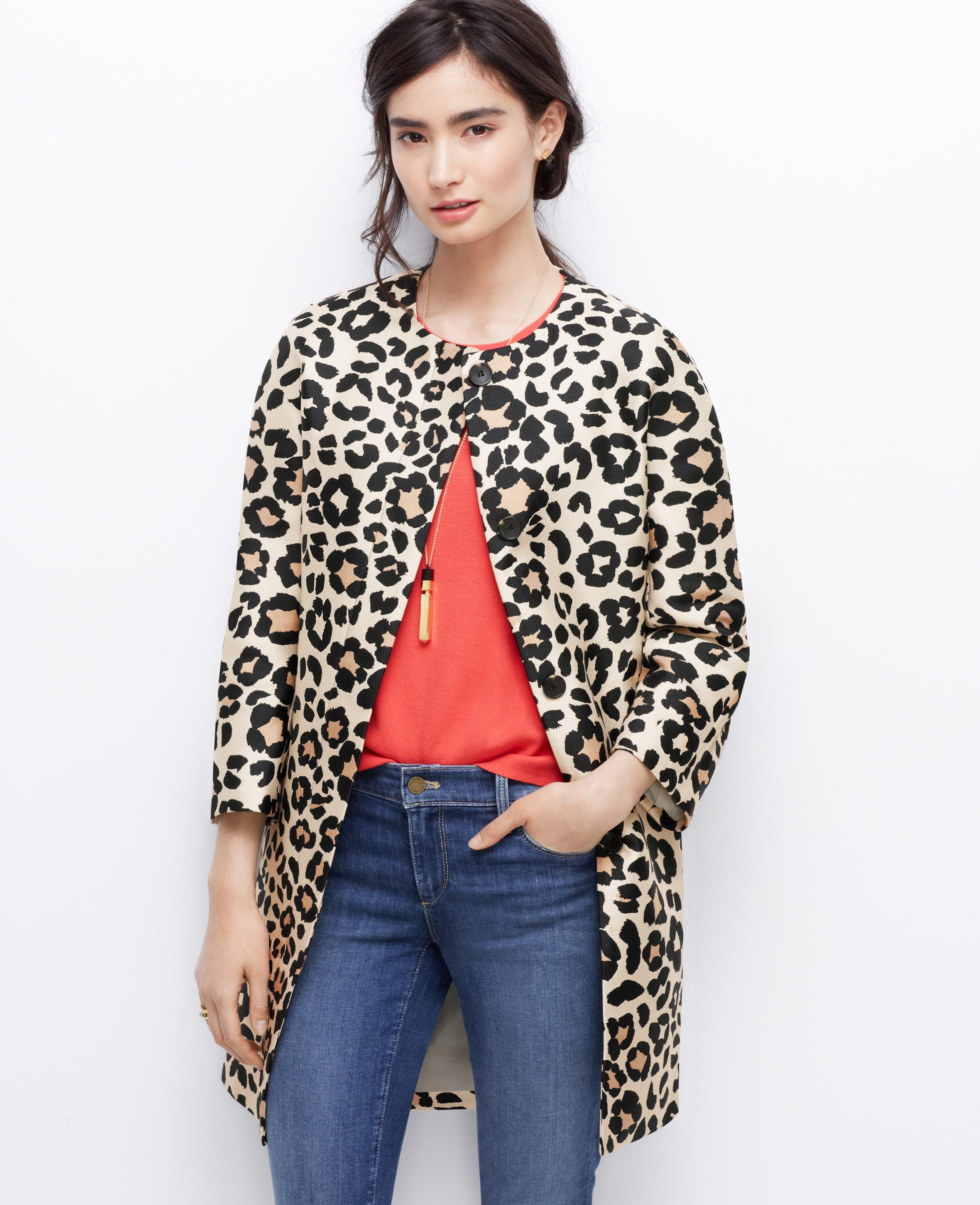 79a2c53920bf Ann Taylor Petite Spring Leopard Coat - Lyst
