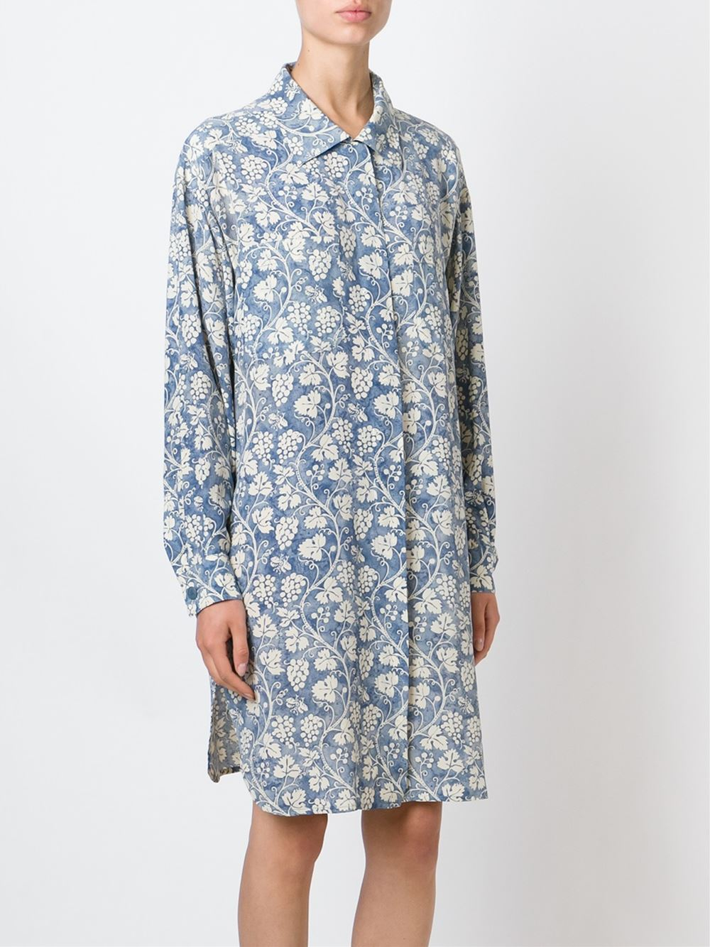 louis feraud vintage vine print shirt dress in white blue