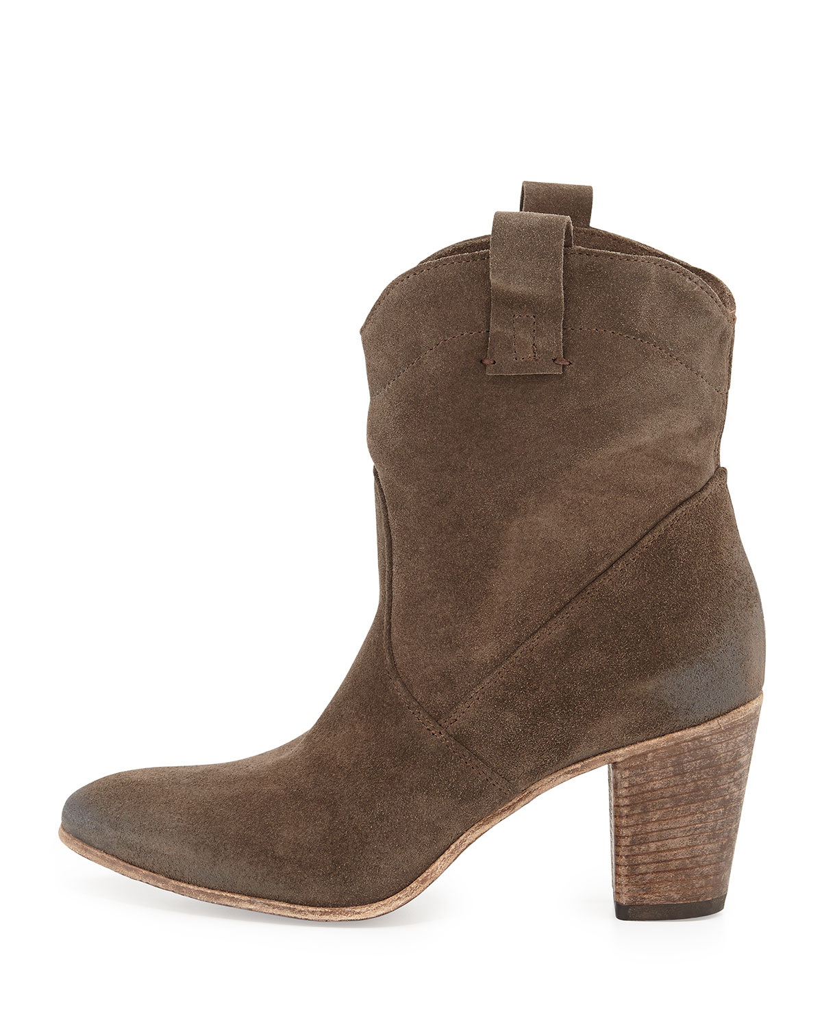 Alberto fermani Chiara Slouchy Suede Western Ankle Boot in Brown ...