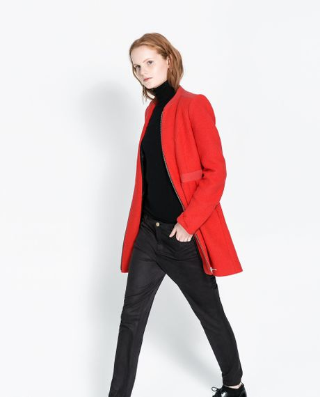 Zara Wool Coat In Red Lyst