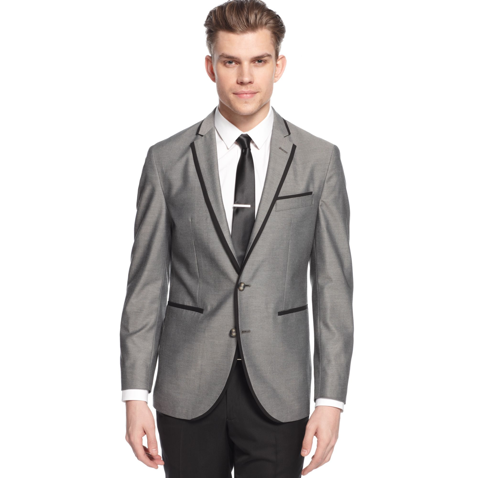 Kenneth cole reaction Sport Coat Grey Solid with Black Lapel and