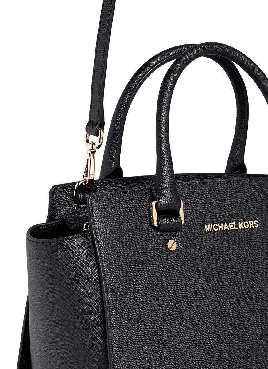 michael kors 39 selma 39 medium saffiano leather satchel in. Black Bedroom Furniture Sets. Home Design Ideas