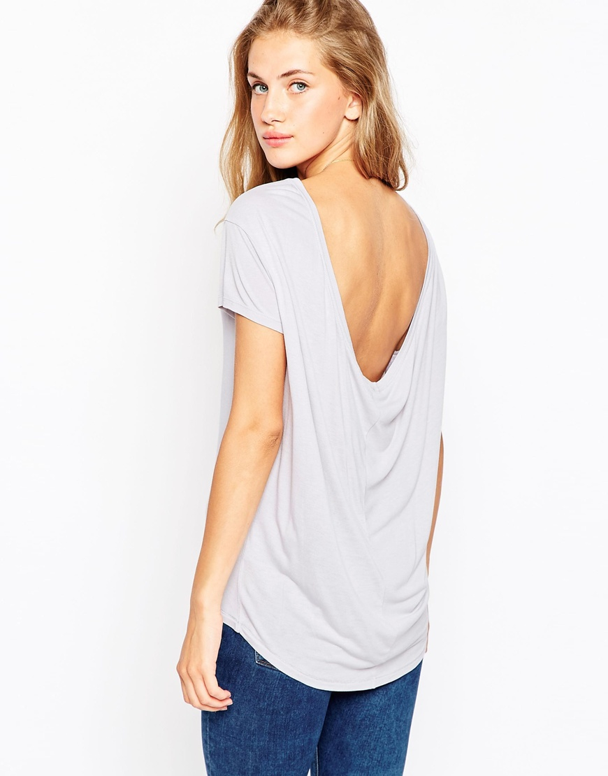 Lyst Asos T Shirt With Scoop Back Gray In Gray