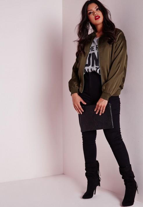 Missguided Plus Size Silk Bomber Jacket Khaki in Green | Lyst