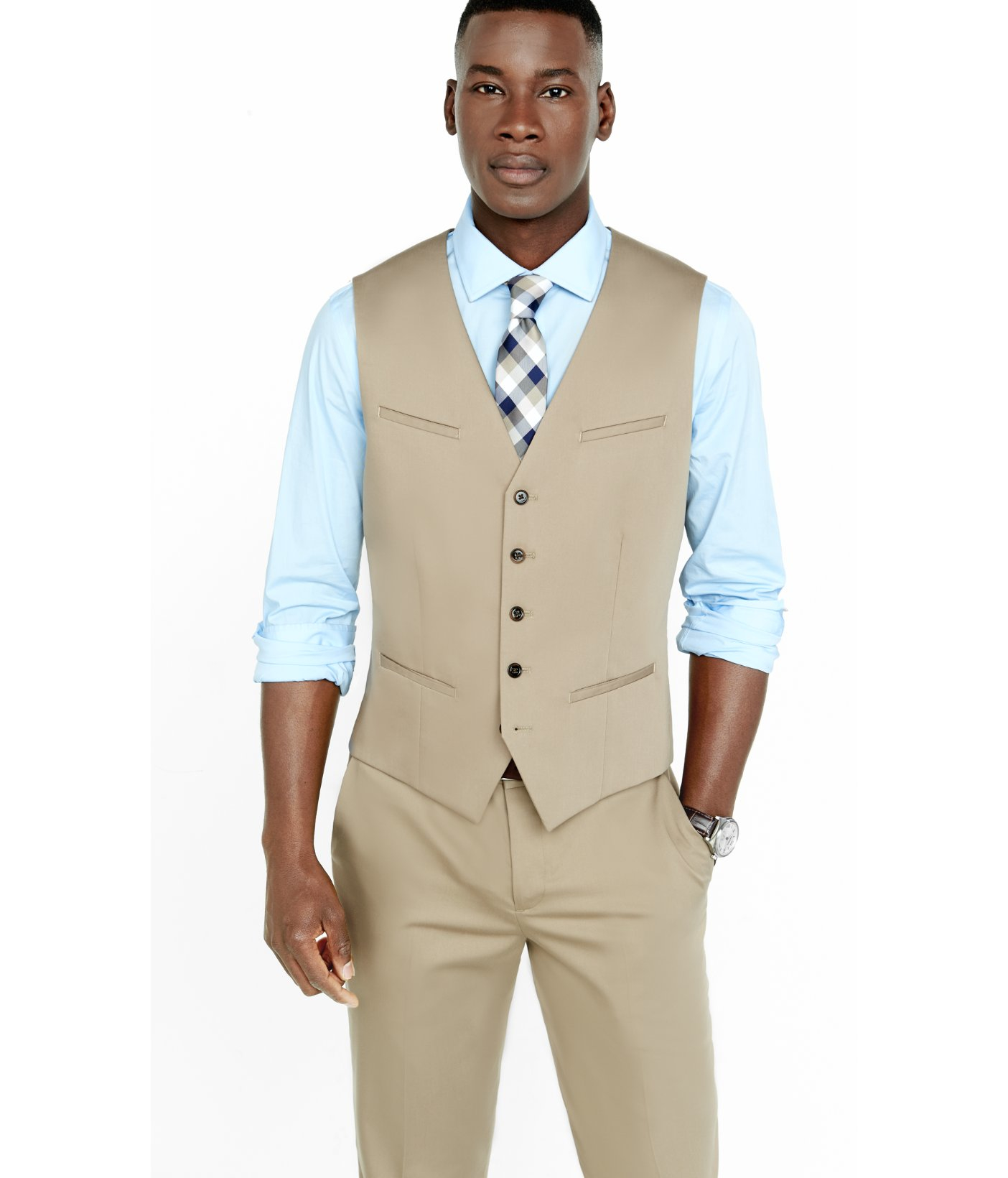 Express Khaki Cotton Sateen Vest in Natural for Men | Lyst