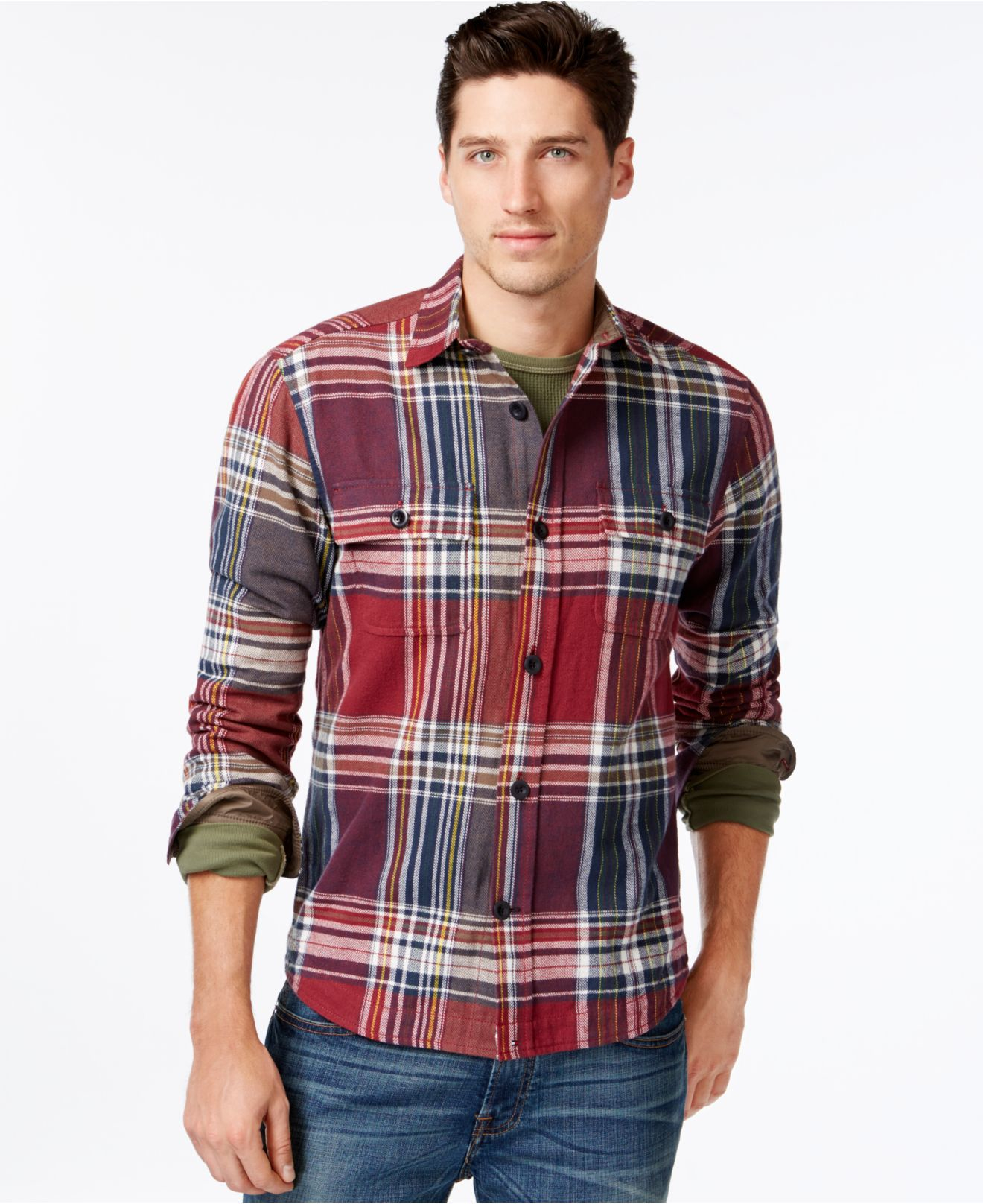 Tommy hilfiger ronstadt plaid shirt jacket in red for men for Plaid shirt jacket mens