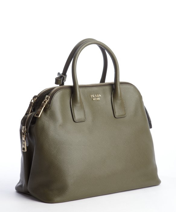 Prada Olive Green Saffiano Leather Top Handle Tote in Green | Lyst