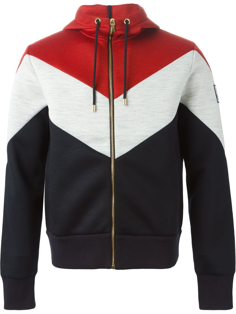 Lyst Moncler Gamme Bleu Color Block Zipped Hoodie In Black For Men