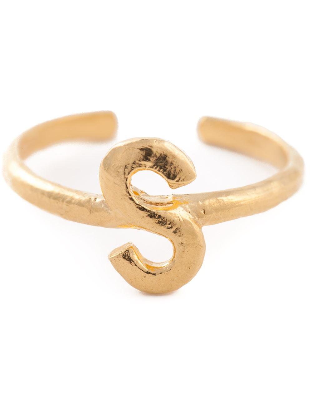 bjorg s alphabet ring in gold metallic lyst