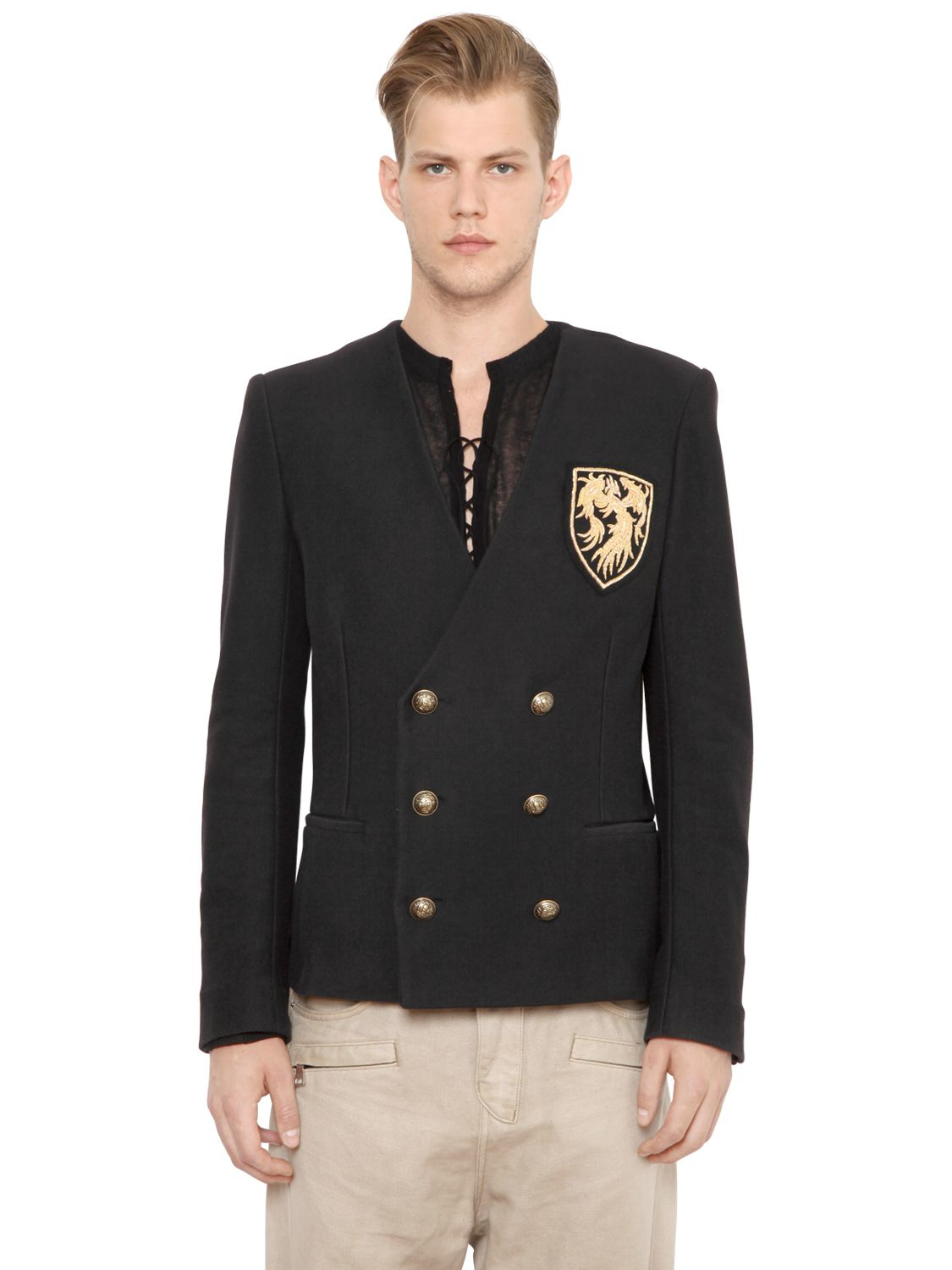 Lyst Balmain Crest Patch On Cotton Jersey Jacket In Black
