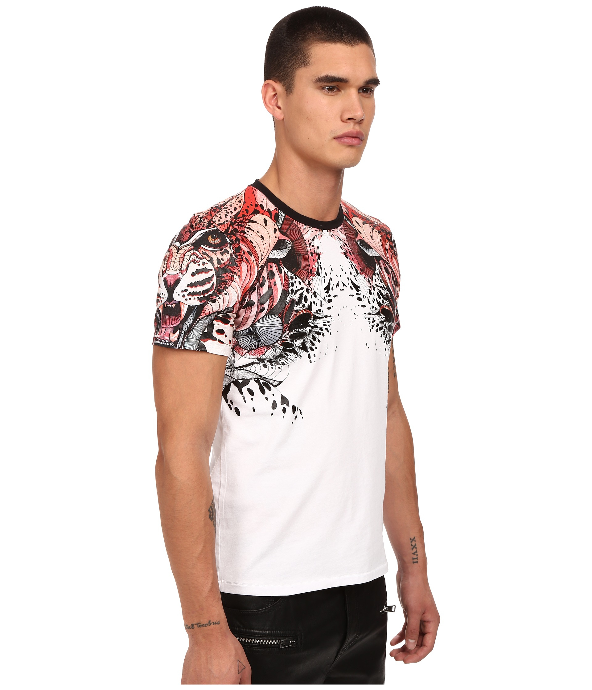 Just cavalli Leo Print Shoulder Crew Tee in White for Men | Lyst