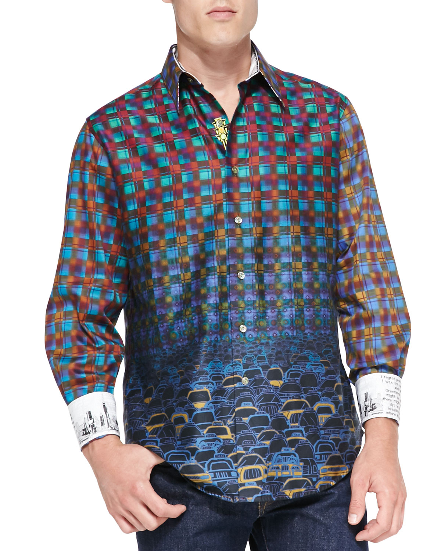 Robert graham palladium striped jacquard sport shirt in for Robert graham tall shirts