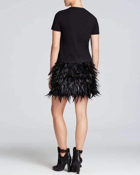 Dkny Feather Skirt Dress In Black Black Black Lyst