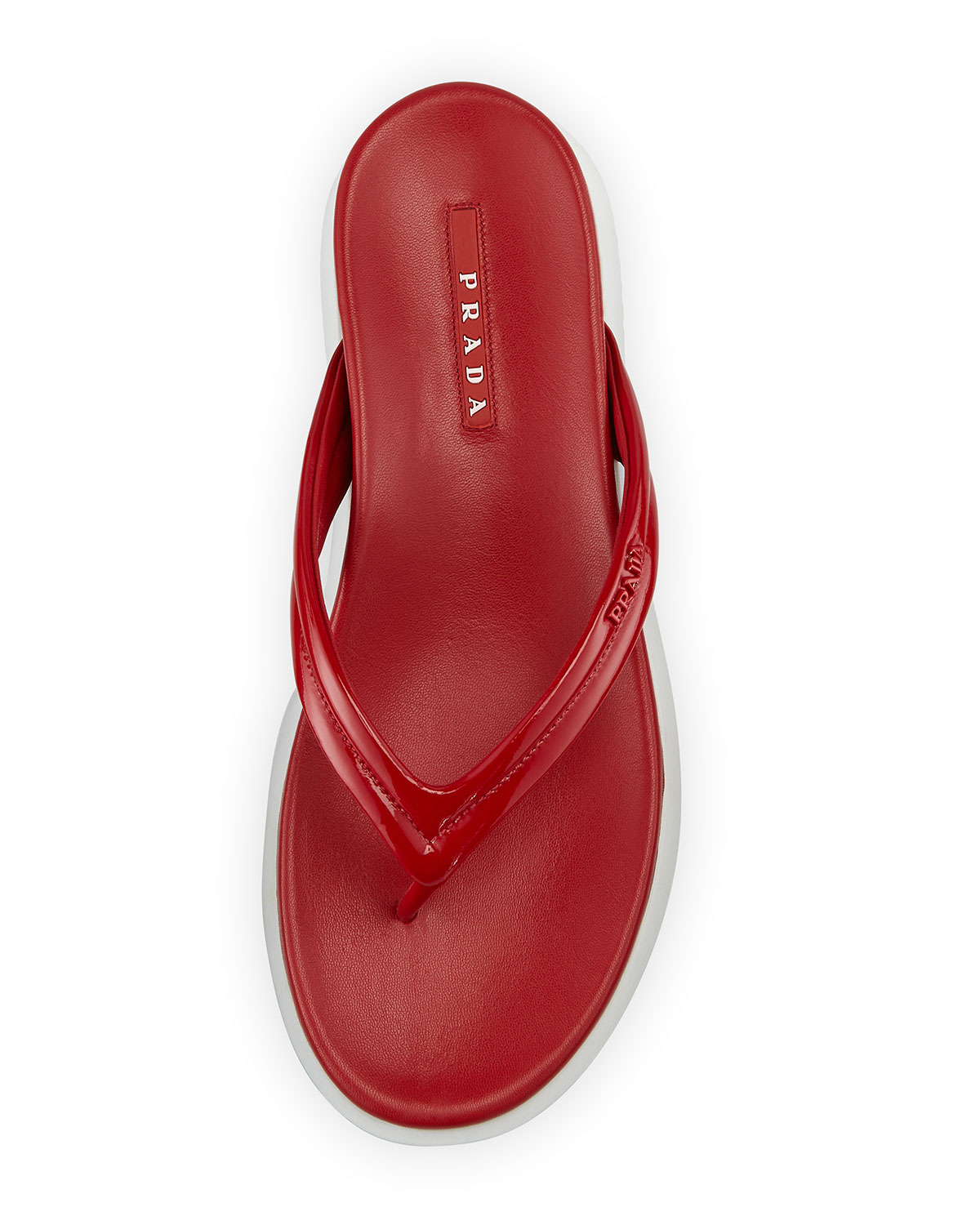 1368ec58d Lyst - Prada Patent Leather Thong Sandal in Red