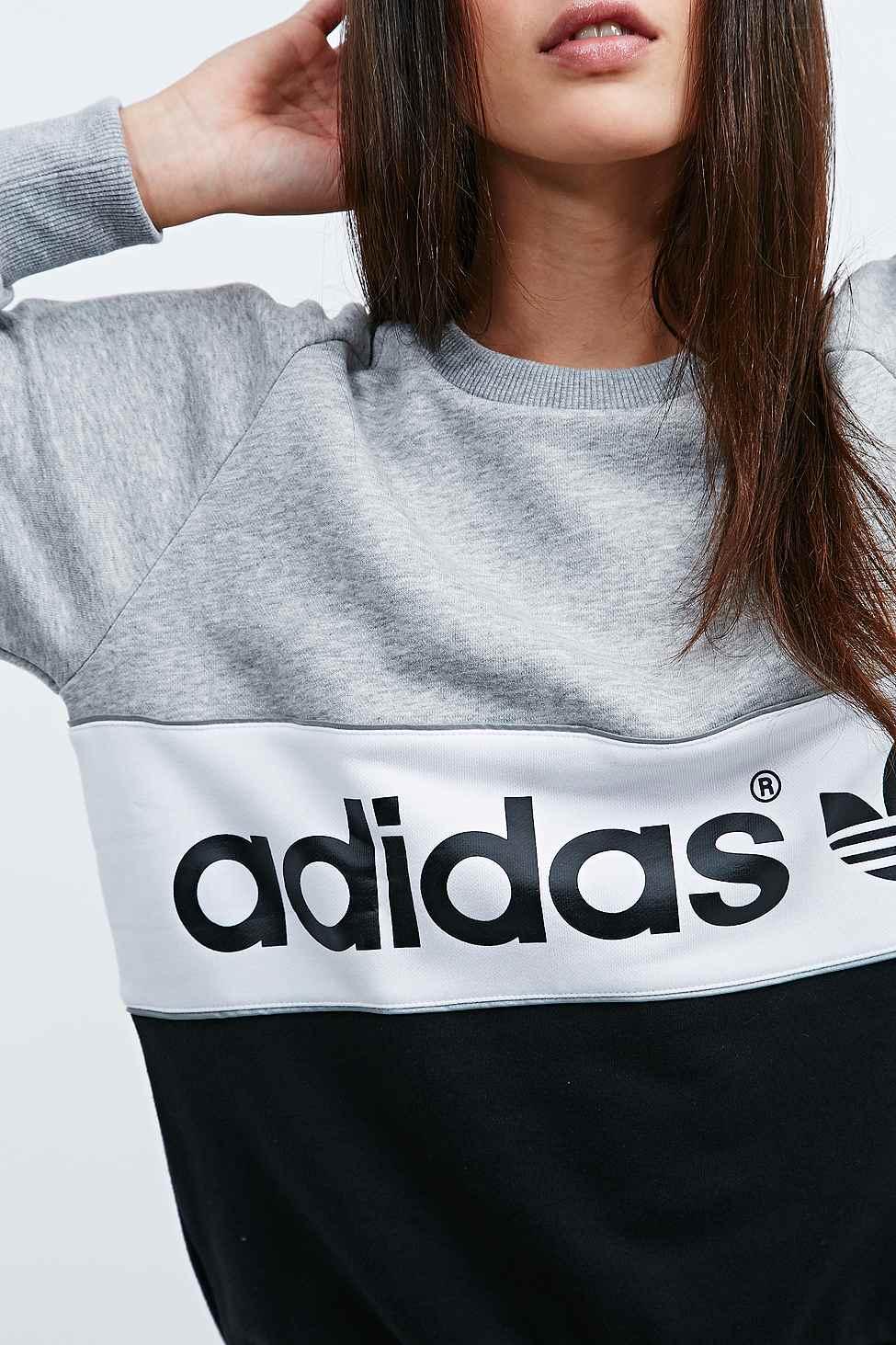 adidas City Sweatshirt In Grey And Black in Gray - Lyst e8fb32f89d