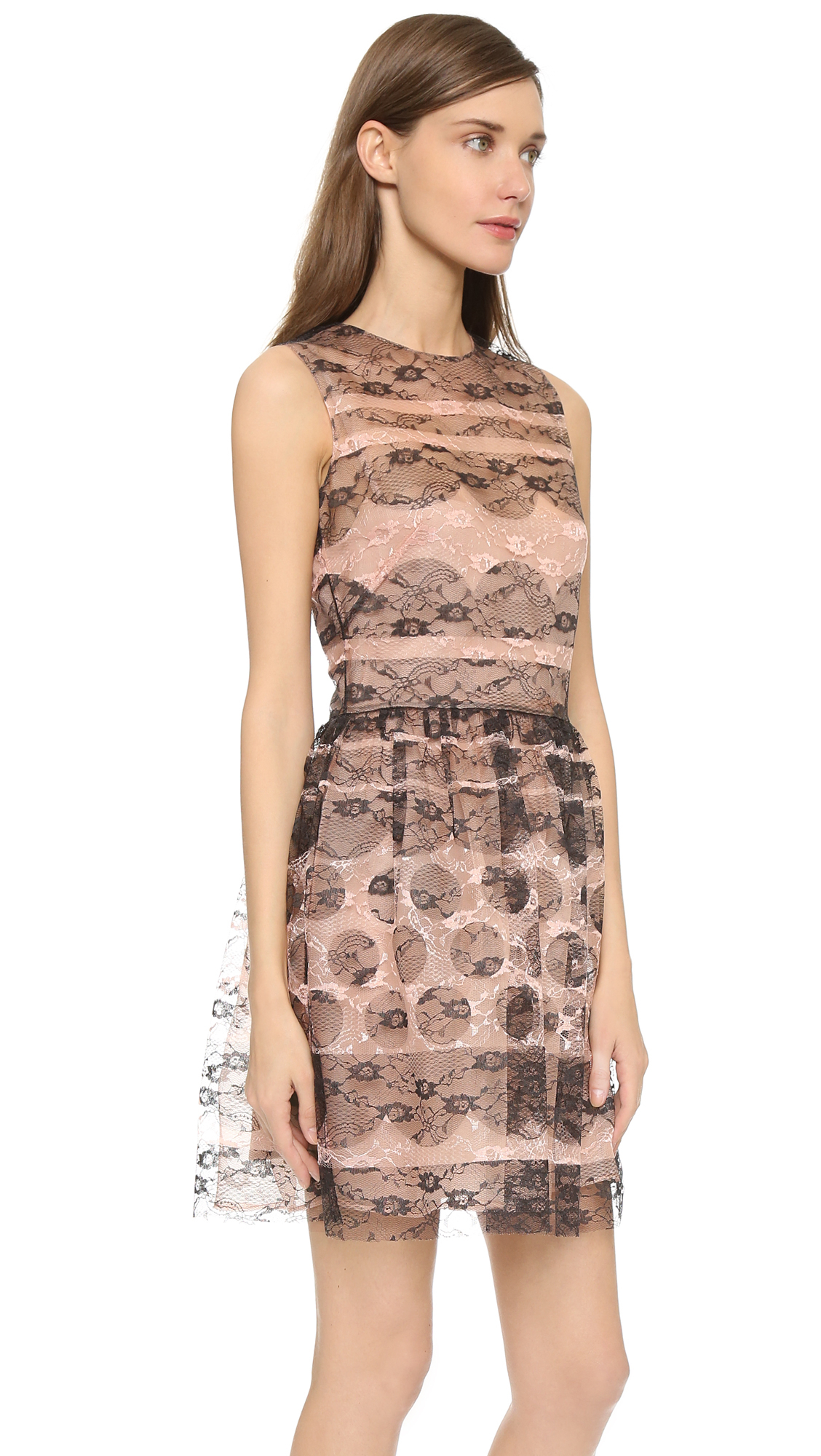 Red Valentino Floral Lace Dress In Brown Lyst