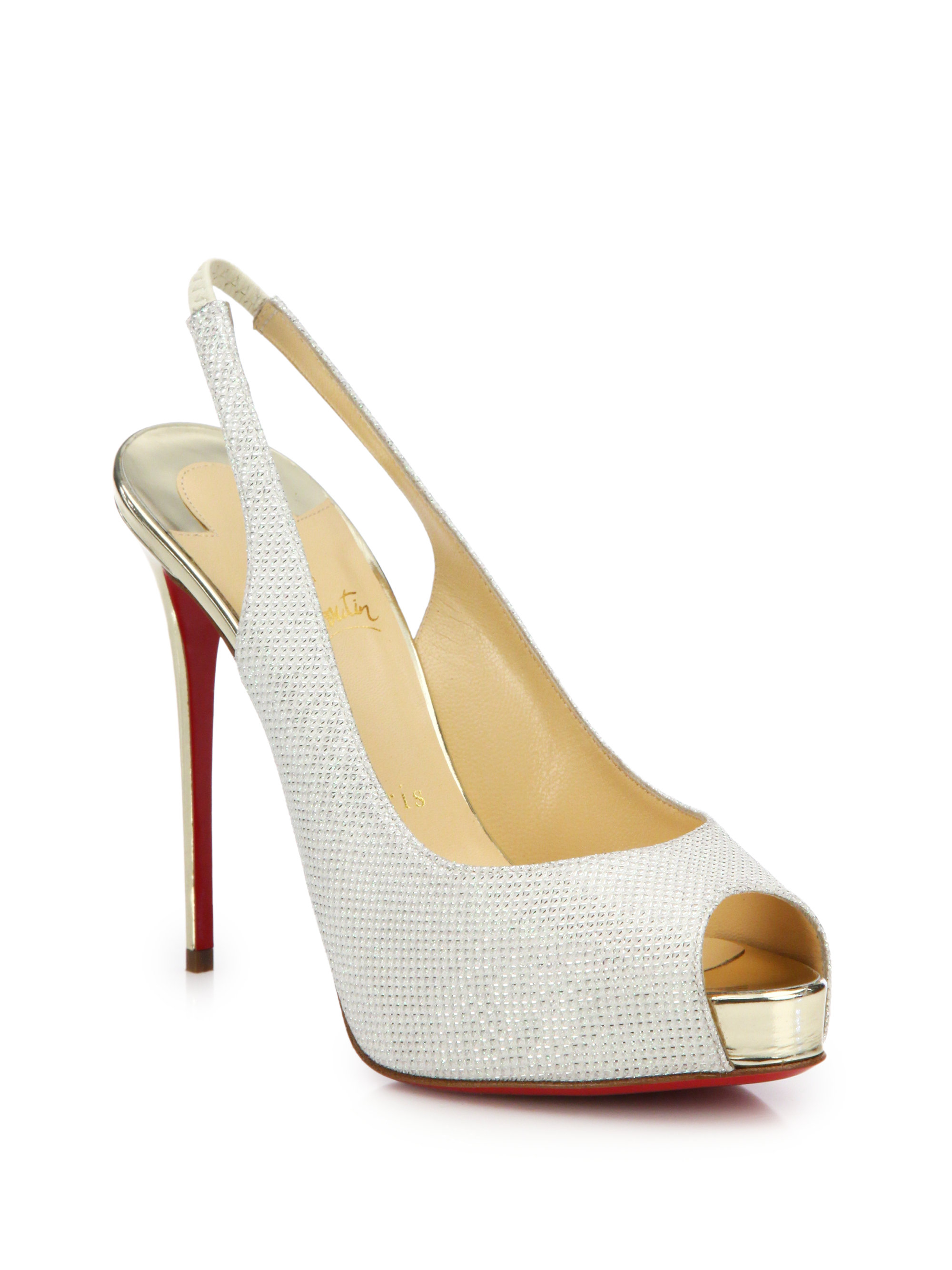 christian louboutin So Private platform slingback pumps Beige ...