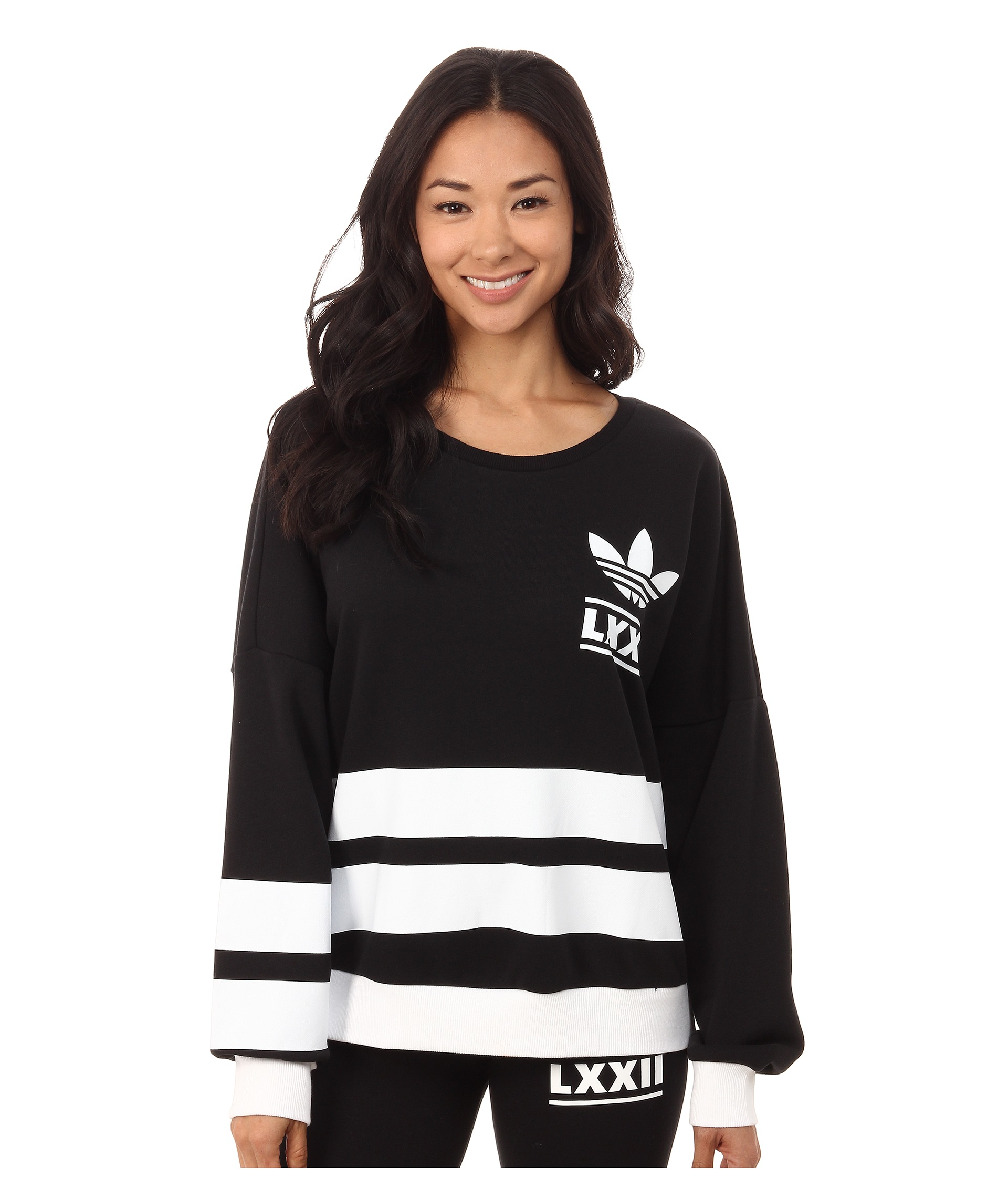 Adidas originals Berlin Logo 3-stripes Crew Sweater in Black | Lyst