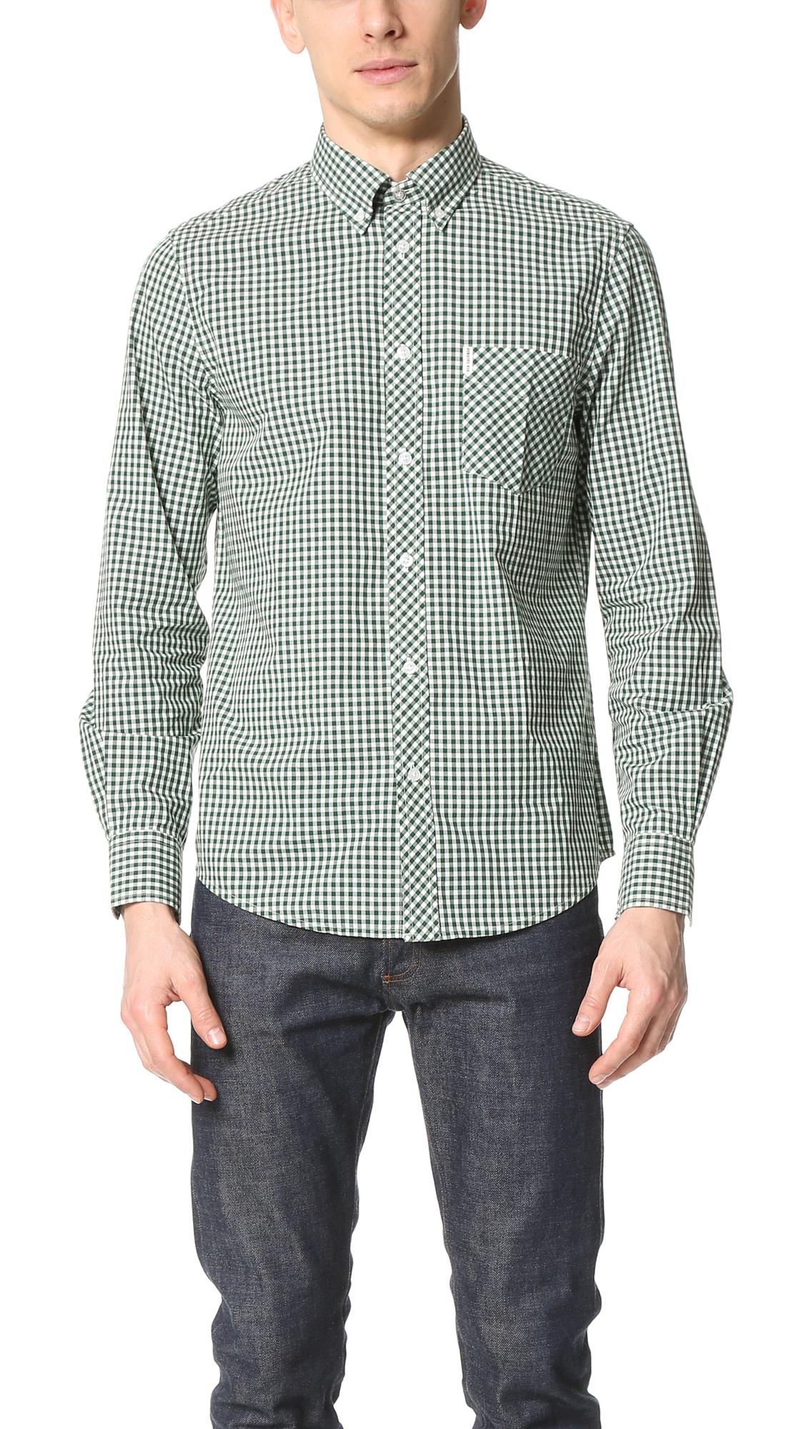 Ben Sherman Gingham Button Down Shirt In Green For Men