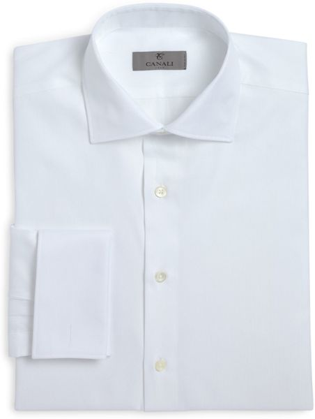 canali herringbone french cuff classic fit dress shirt in
