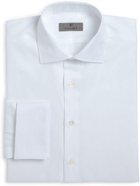 Canali herringbone french cuff classic fit dress shirt in for White herringbone dress shirt