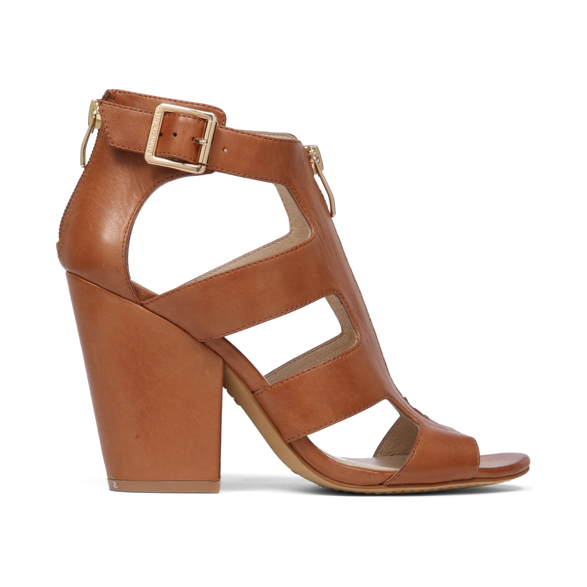 3a0fcbb182 Vince Camuto Marleau Block Heel Sandals in Brown - Lyst
