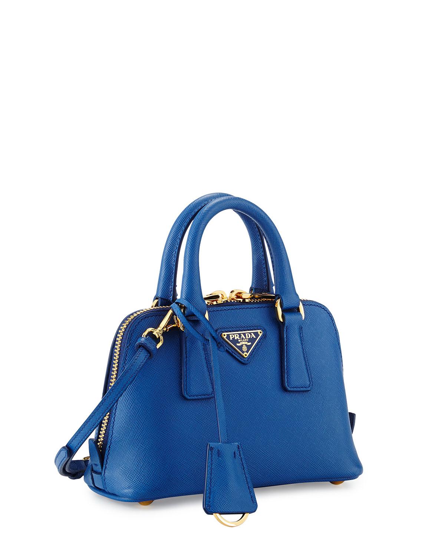 19618525017e ... discount code for lyst prada mini saffiano promenade bag in blue 0e27b  f742b