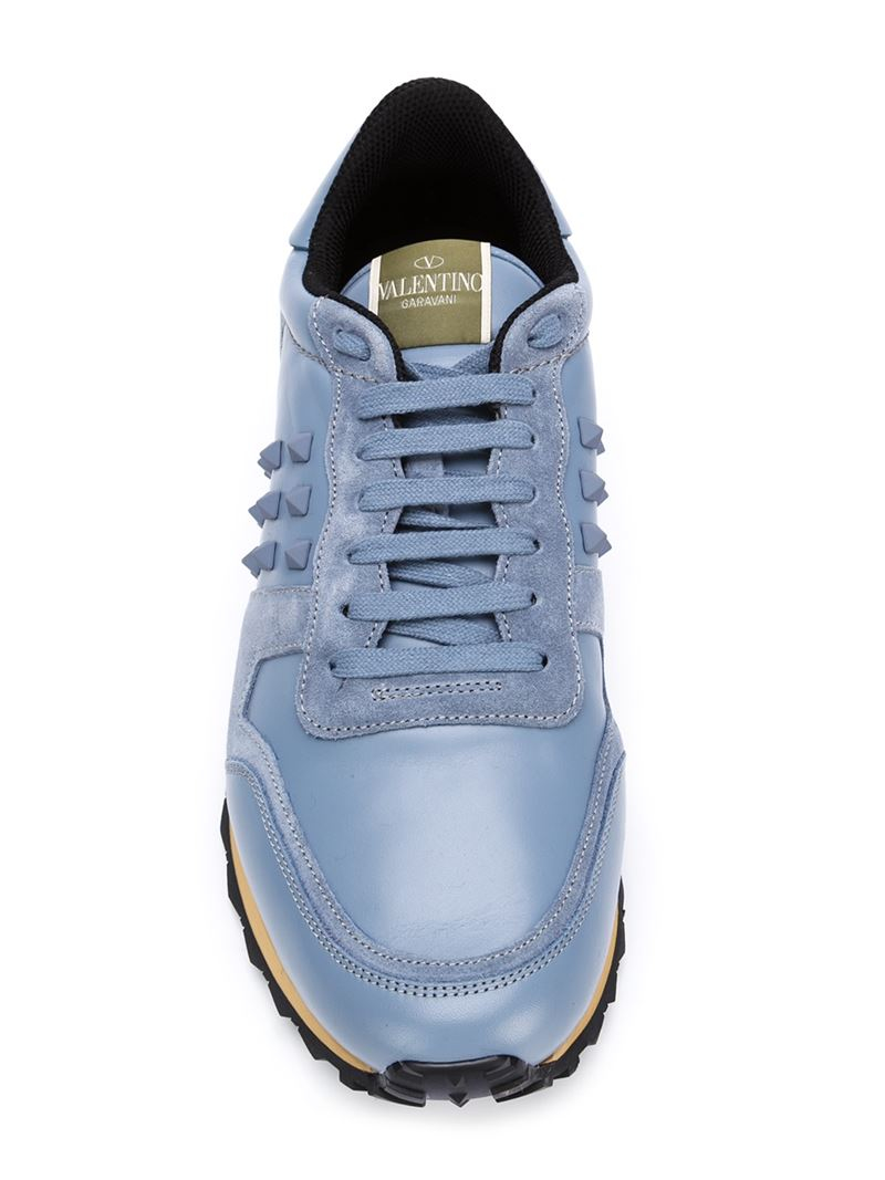 794bd1b4ae96c Lyst In Valentino For Blue Leather Men Sneakers Rockrunner Suede And rrxUCS