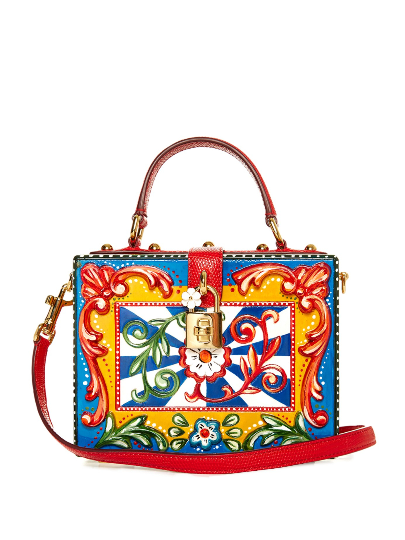 d0a39c2688ca Lyst - Dolce   Gabbana Dolce Hand-painted Floral-print Box Bag in Blue