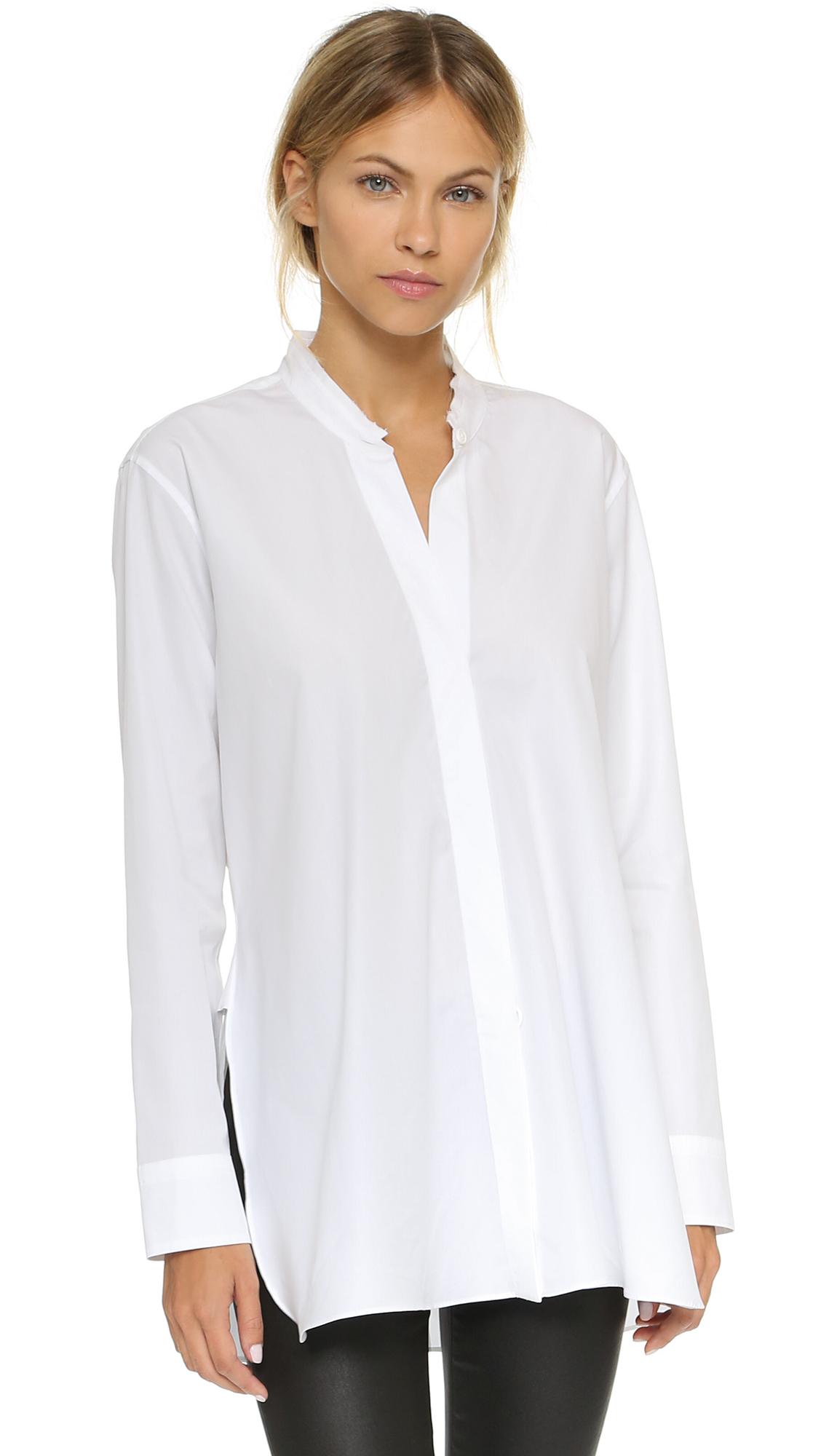 Helmut lang overlap shirt light blue in white lyst for Helmut lang tee shirts
