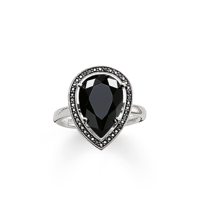 thomas sabo maharani black onyx drop ring in black lyst. Black Bedroom Furniture Sets. Home Design Ideas