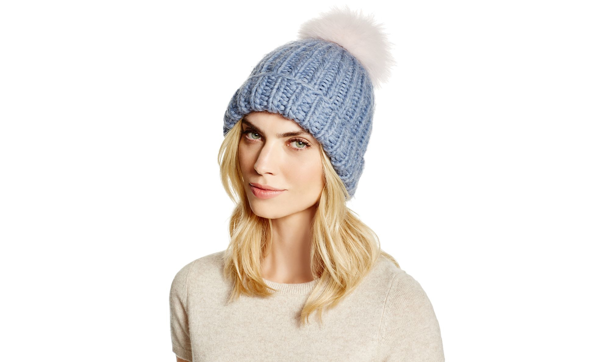 9c61ca69e51 Lyst - Eugenia Kim Rain Slouchy Beanie With Fox Fur Pom-pom in Blue