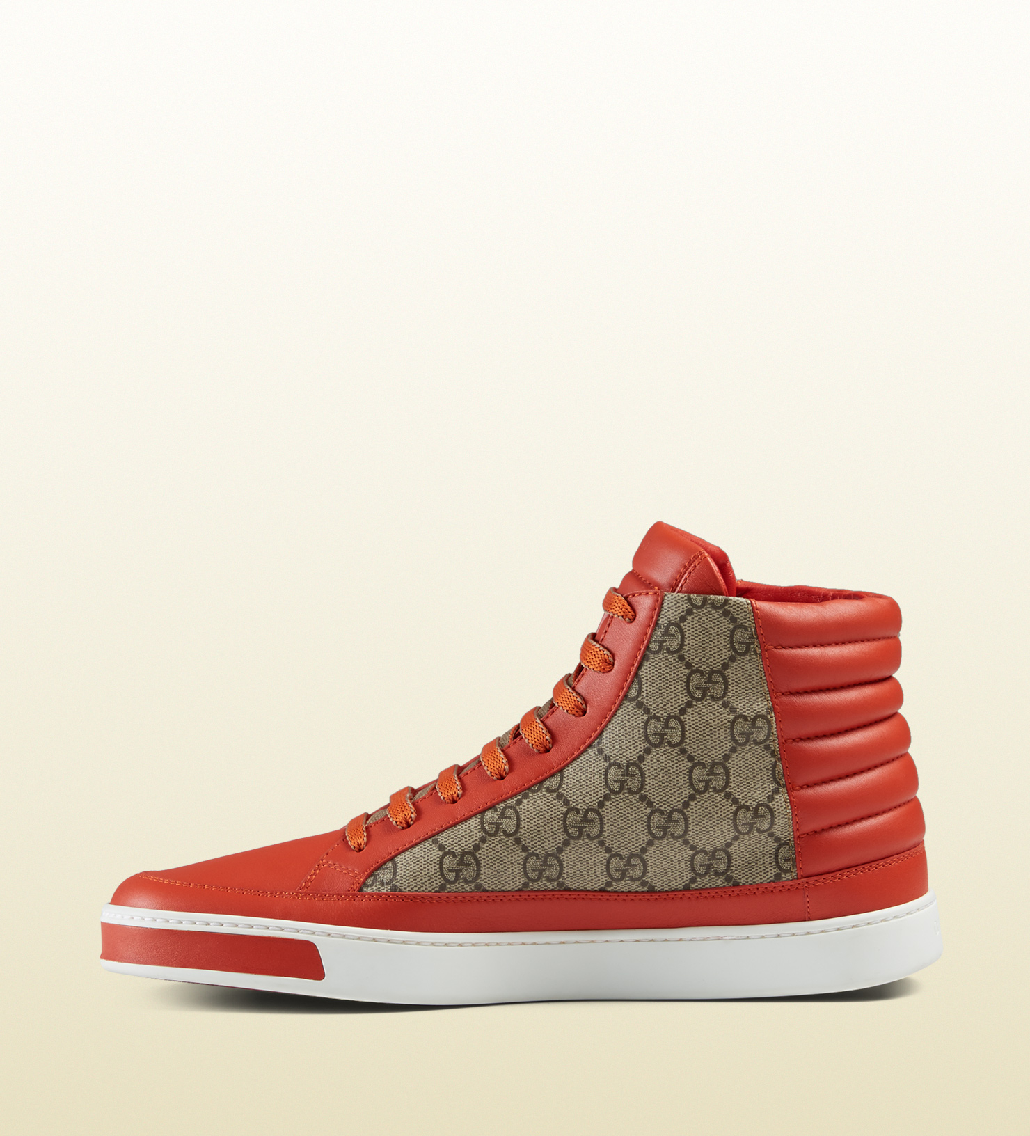 335365f6f Gucci Gg Supreme And Leather High-top Sneaker in Orange for Men - Lyst