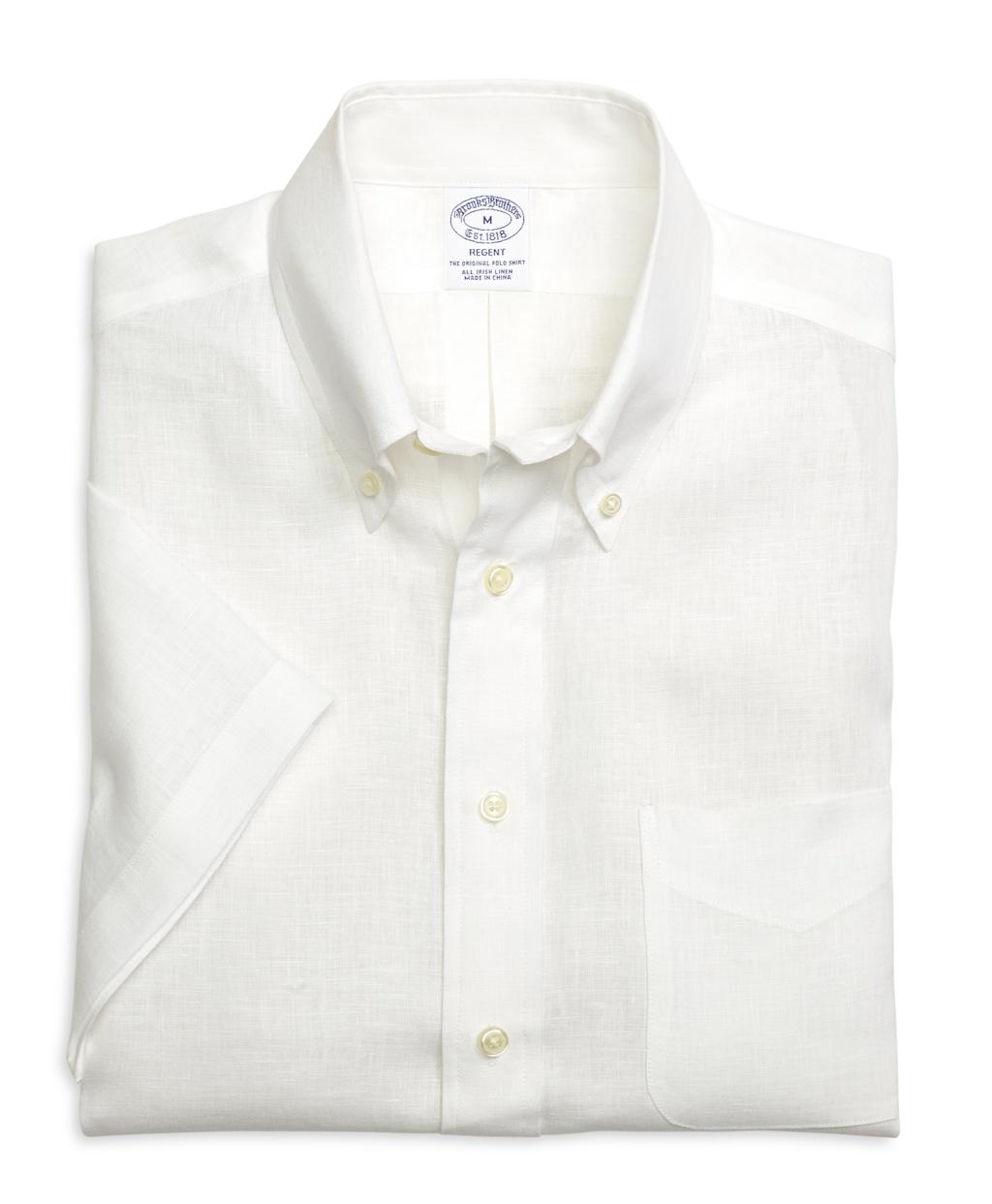 Brooks brothers regent fit linen short sleeve sport shirt for Brooks brothers dress shirt fit guide