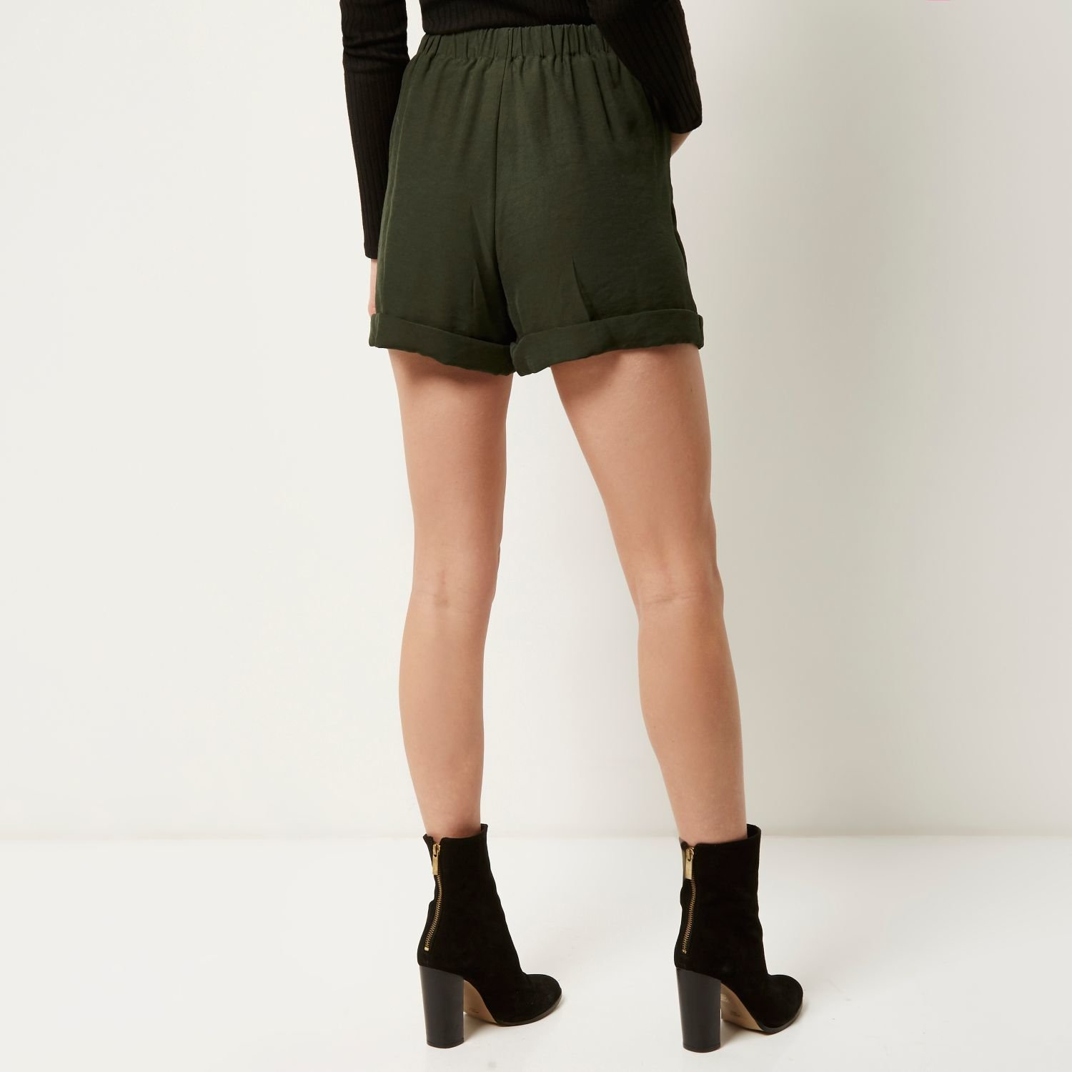 River island Khaki Smart High Waisted Soft Shorts in Natural | Lyst