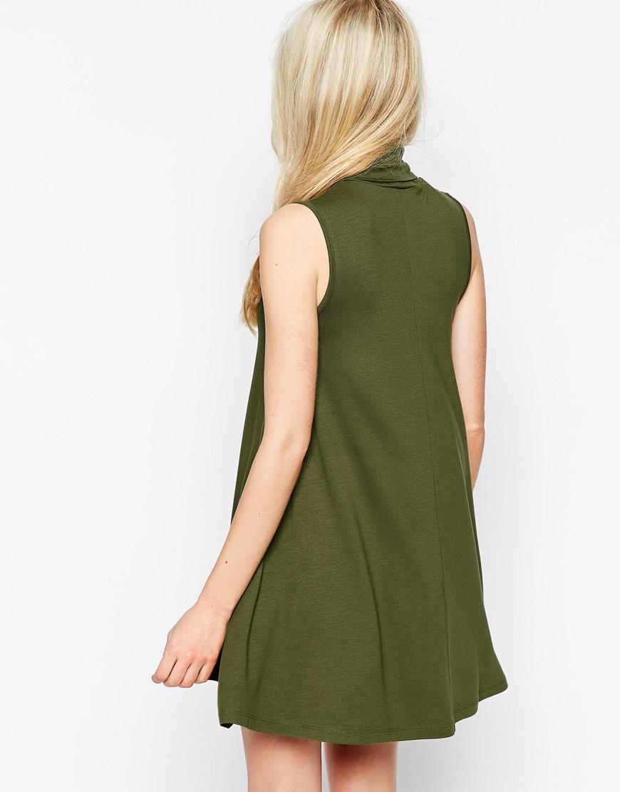 Asos sleeveless swing dress with turtleneck in black khaki lyst
