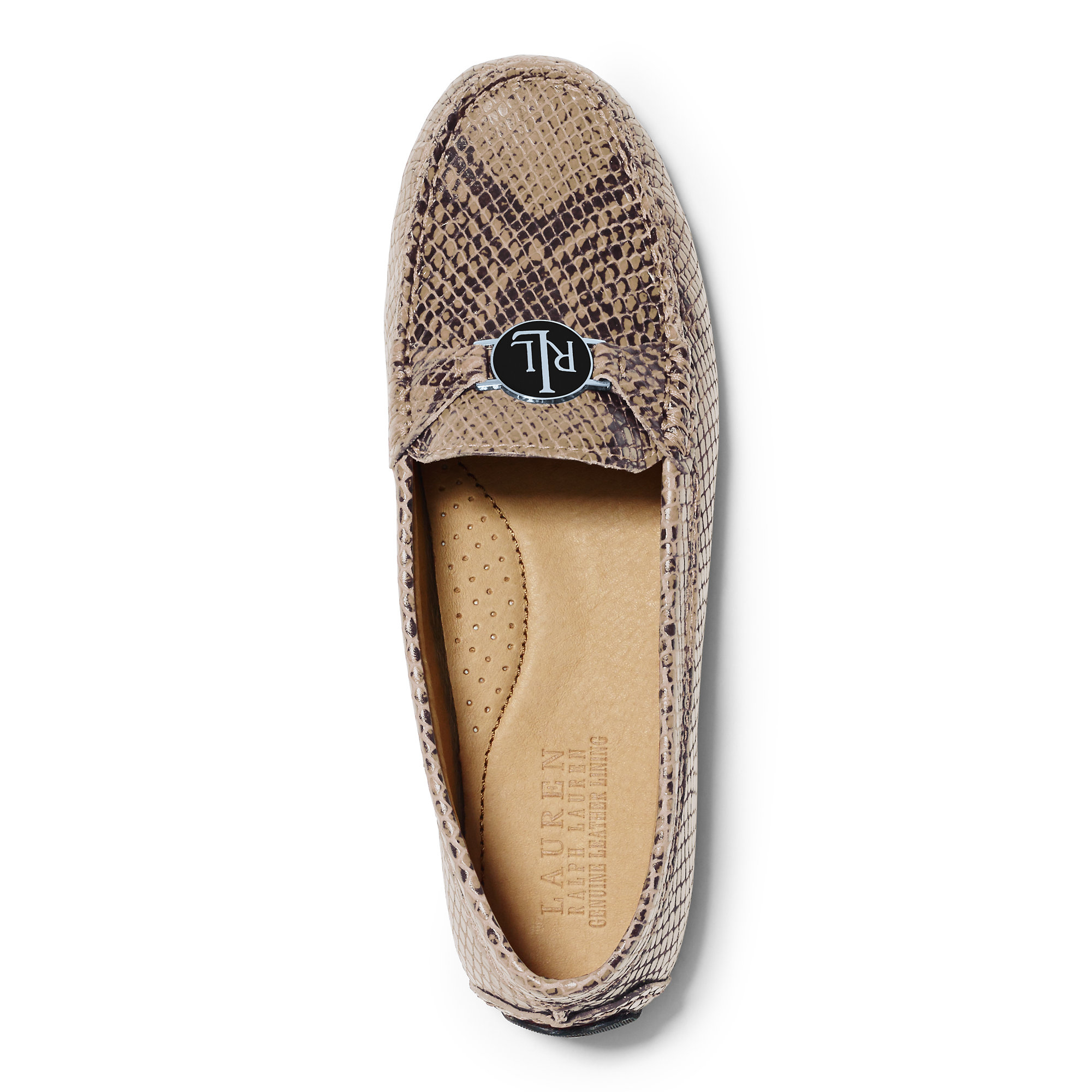 199dcd004b3 Lyst - Ralph Lauren Carley Python-embossed Loafer in Natural
