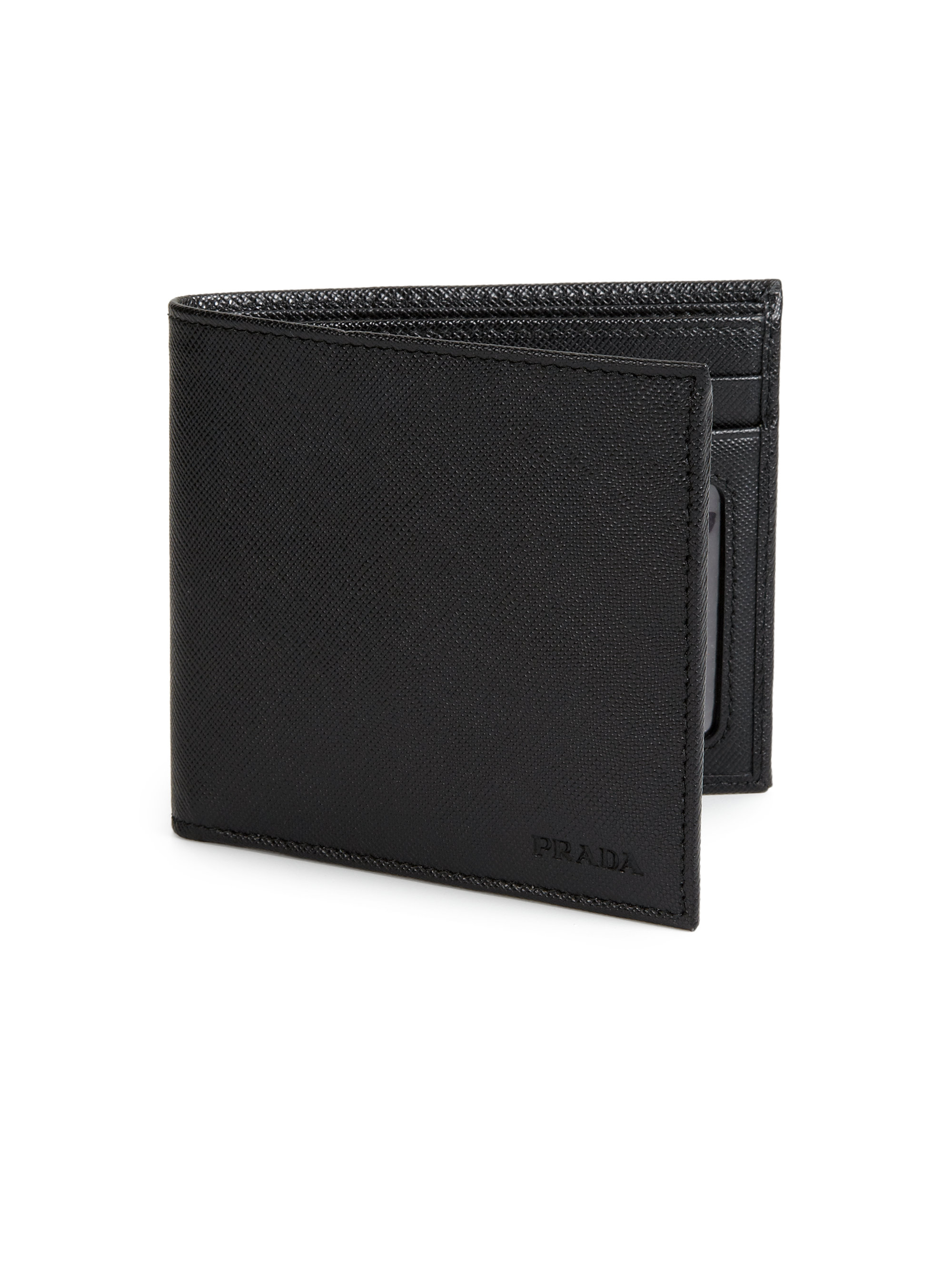 223a05319d41 ... new zealand lyst prada saffiano leather billfold wallet in black for men  4d936 2843f