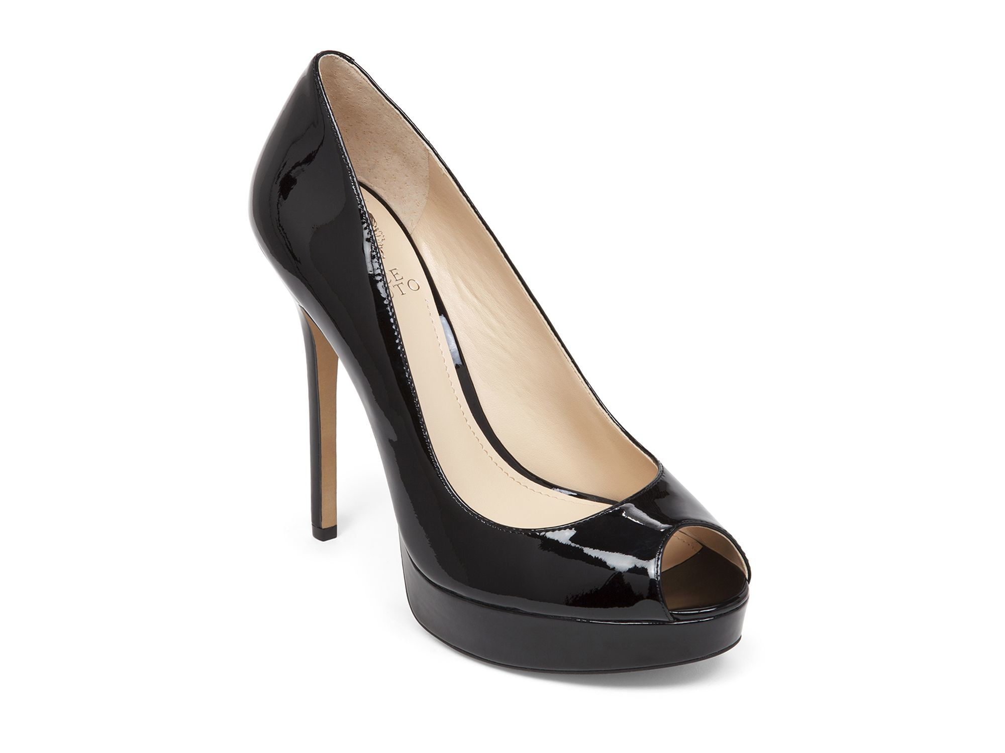 Vince Camuto Peep Toe Pumps Lorim Patent In Black Lyst