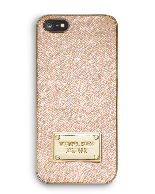 d4fbb36ed6d2 Lyst - Michael Kors Michael Metallic Phone Cover in Metallic