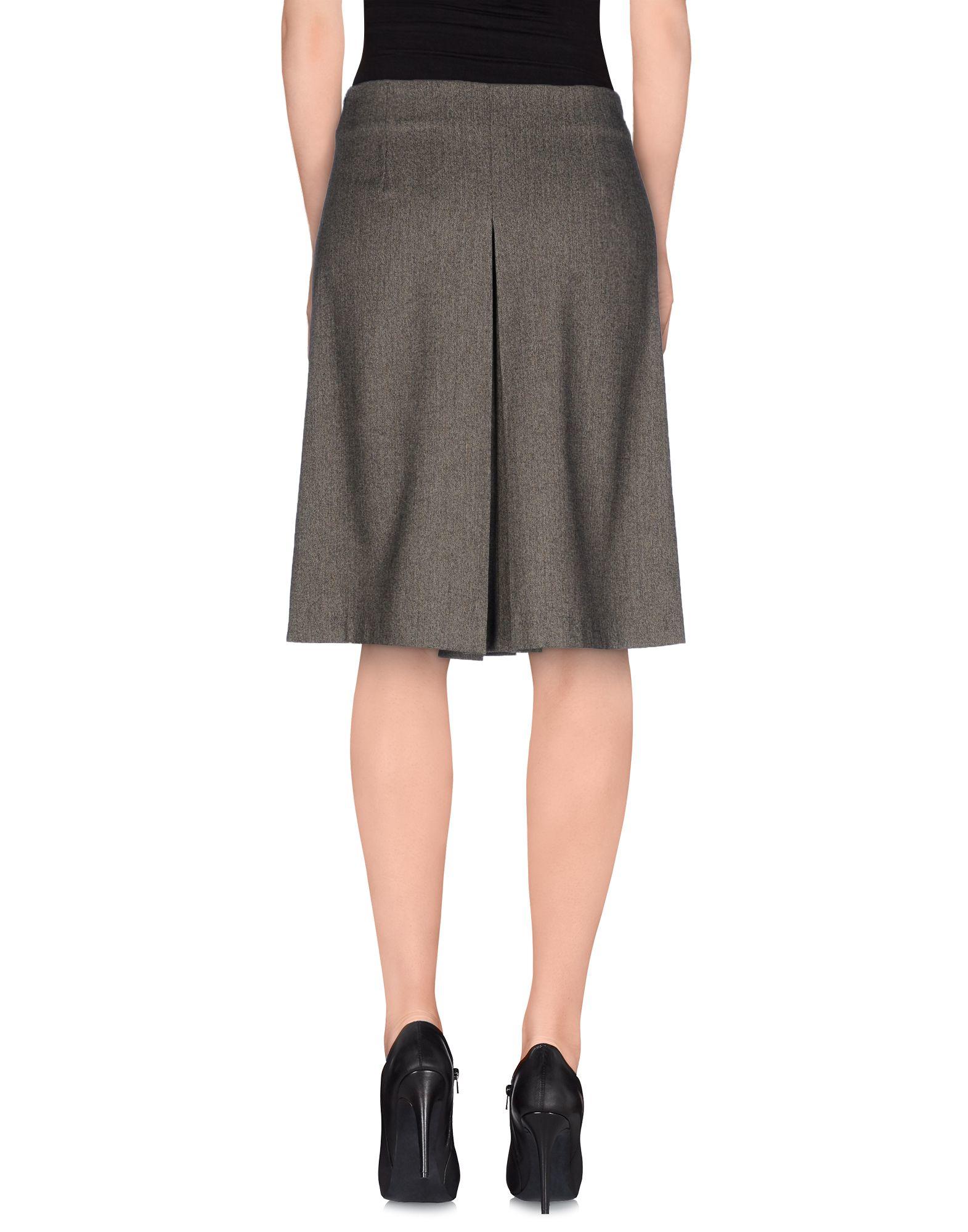 tessa knee length skirt in gray grey lyst