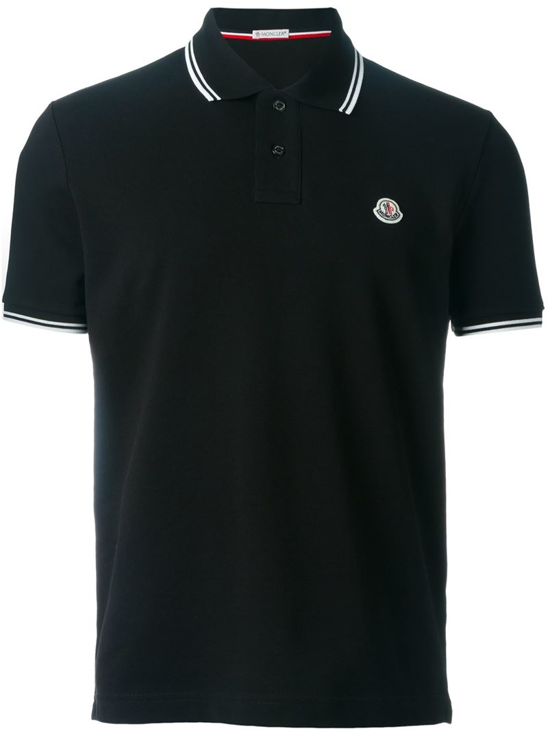 moncler classic polo shirt in black for men lyst. Black Bedroom Furniture Sets. Home Design Ideas