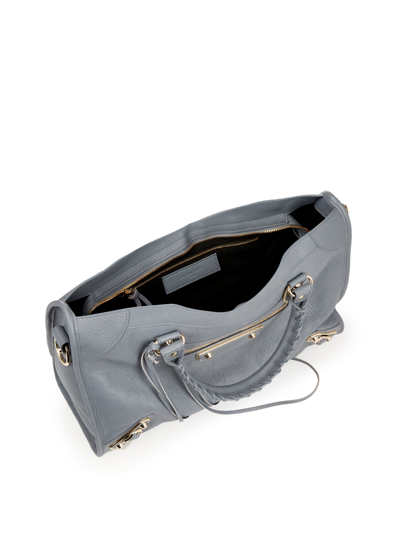 8491ecb3f516 Lyst - Balenciaga Classic City Metallic-edge Leather Tote in Blue